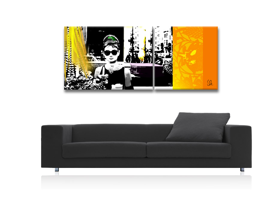 audrey hepburn pop art orig auf leinwand 2 bilder collage ebay. Black Bedroom Furniture Sets. Home Design Ideas